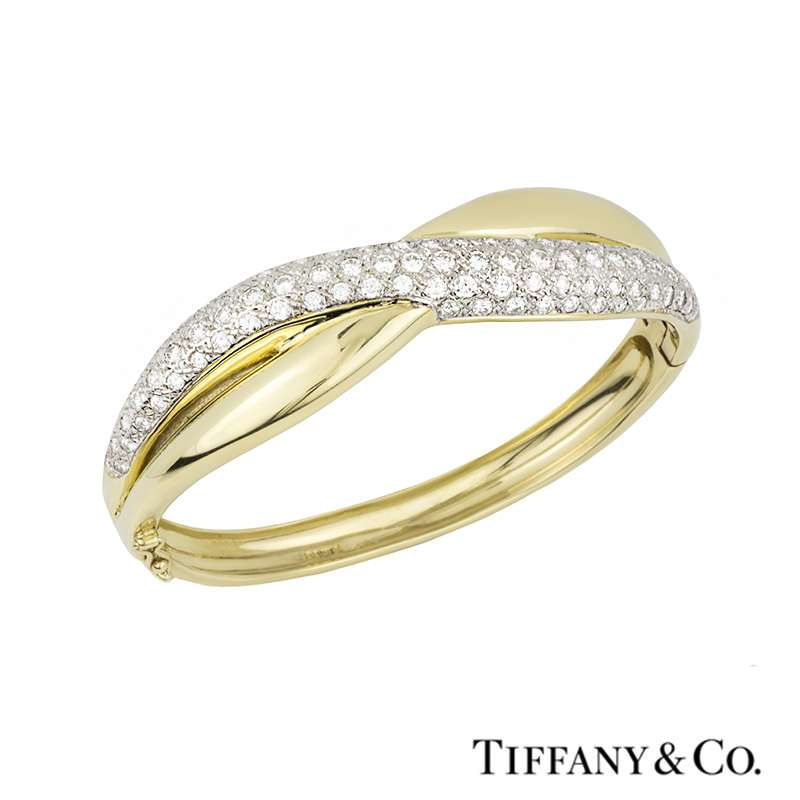 TIffany & Co. 18k Yellow Gold Diamond Set Bangle